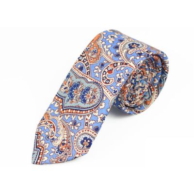 6cm Blue Orchid, Glacial Blue Ice, Scarlet and White Cotton Paisley Skinny Tie