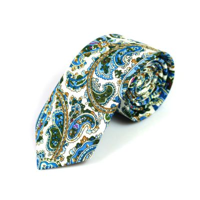 6cm SeaShell, Blue Dress, Dark Forest Green and Champagne Cotton Paisley Skinny Tie