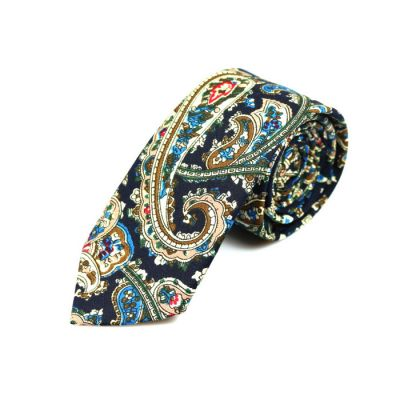 6cm Midnight Blue, Corn Yellow, Blue Eyes, Red and Dark Forest Green Cotton Paisley Skinny Tie