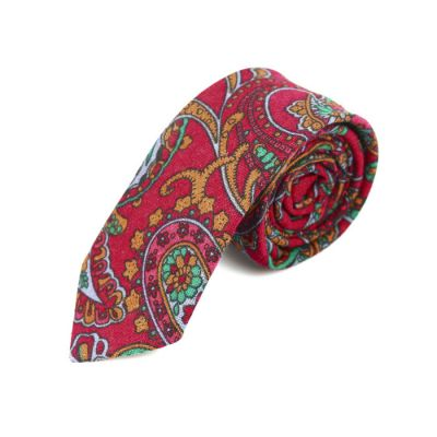 6cm Burnt Pink, Spring Green, Coral and School Bus Yellow Cotton Paisley Skinny Tie
