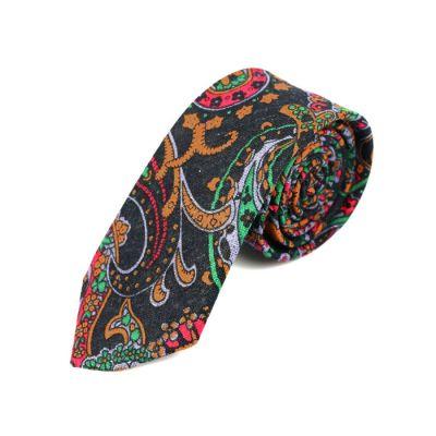 6cm 深灰色、鮭魚橙、深灰綠色和暗粉色棉質腰果花領帶