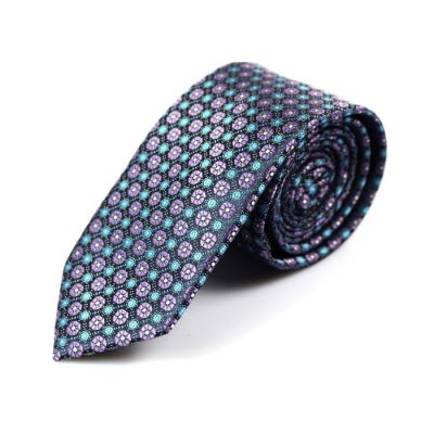6cm Grape, Purple Mimosa and Blue green Polyester Floral Skinny Tie