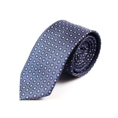 6cm Grape, SeaShell and Dark Slate Blue Polyester Floral Skinny Tie
