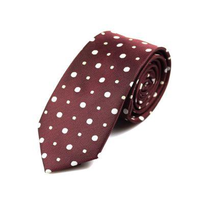 6cm Firebrick and White Polyester Polka Dot Skinny Tie