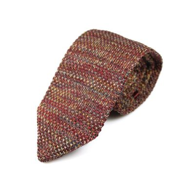 7cm Purple and Sandy Brown Knit Striped Skinny Tie