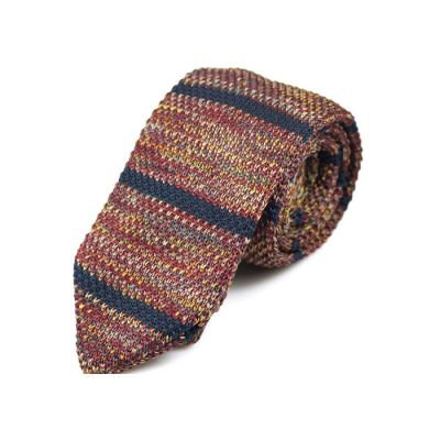 7cm Charcoal, Grape, Pink Bubblegum, Brass, Blue Whale and Oak Brown Knit Striped Skinny Tie
