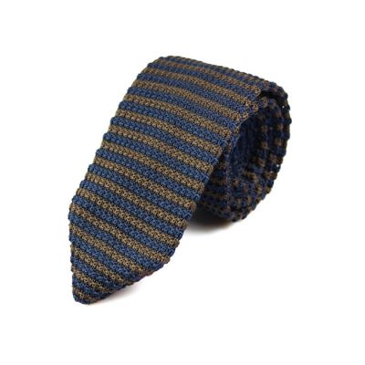 7cm Blue Whale and Oak Brown Knit Striped Skinny Tie