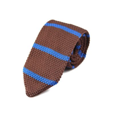 7cm Brown and Deep Sky Blue Knit Striped Skinny Tie