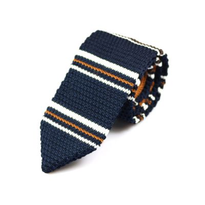7cm Midnight Blue, White and Brown Knit Striped Skinny Tie