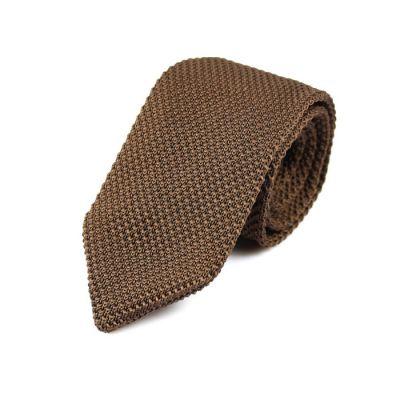 7cm Mahogany Knit Striped Skinny Tie
