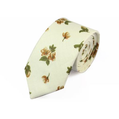 6cm SeaShell, Oak Brown and Beer Cotton Floral Skinny Tie