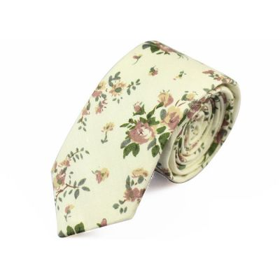 6cm SeaShell, Oak Brown and Pink Bubblegum Cotton Floral Skinny Tie