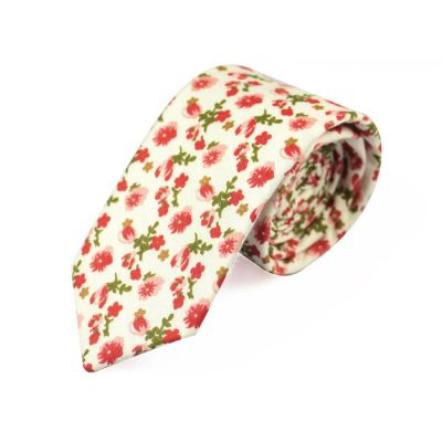 6cm SeaShell, Ferrari Red and Oak Brown Cotton Floral Skinny Tie