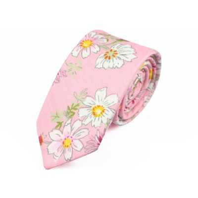 6cm Pearl, SeaShell, Brass and Dark Salmon Cotton Floral Skinny Tie