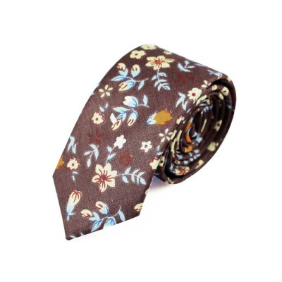 6cm Midnight, Mint green, SeaShell and Pumpkin Orange Cotton Floral Skinny Tie