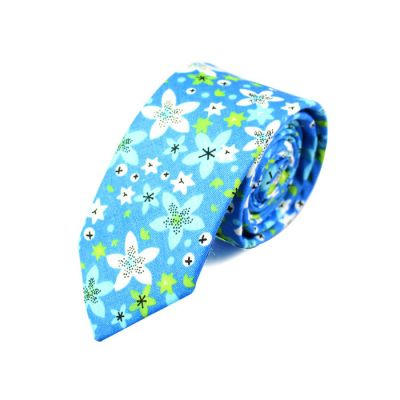 6cm Blue Zircon, White and Moccasin Cotton Floral Skinny Tie