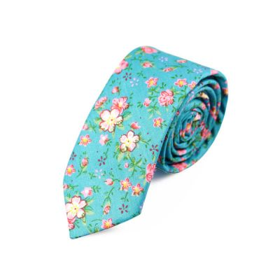 6cm Tiffany Blue, Dark Salmon and SeaShell Cotton Floral Skinny Tie