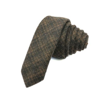 5cm Black Eel and Sedona Cotton Plaid Skinny Tie