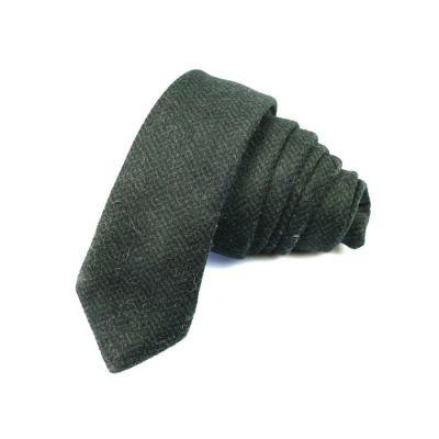 5cm Dark Forest Green Cotton Plaid Skinny Tie