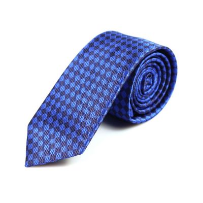 6cm Midnight Blue and Dodger Blue Polyester Striped Skinny Tie