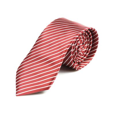 6cm Midnight and White Polyester Striped Skinny Tie