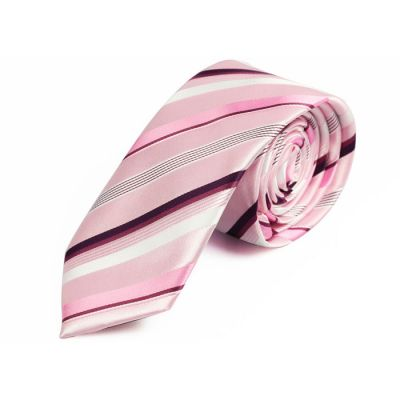 6cm White, Eggplant, Dark Orchid and Rose Polyester Striped Skinny Tie