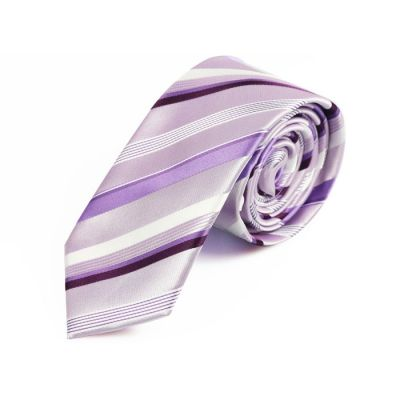 6cm Blush Pink, White, Wisteria Purple and Plum Velvet Polyester Striped Skinny Tie