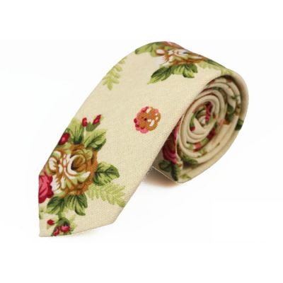 6cm SeaShell, Pink Bow, Moccasin and Caramel Cotton-Linen Blend Floral Skinny Tie