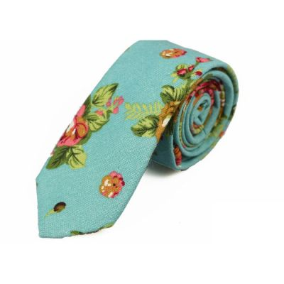 6cm Light Sea Green, Moccasin, Pale Blue Lily, Khaki Rose and Caramel Cotton-Linen Blend Floral Skinny Tie