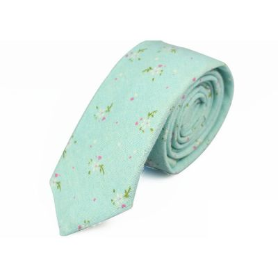 6cm Light Aquamarine, Moccasin, White and Khaki Rose Cotton-Linen Blend Floral Skinny Tie