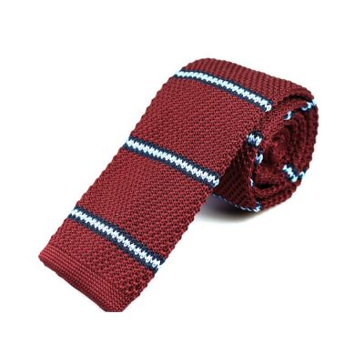 6cm Red Wine, Midnight Blue and White Knit Striped Skinny Tie