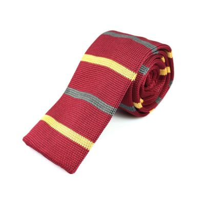 6cm Red Wine, Sun Yellow and Cloudy Gray Knit Striped Skinny Tie