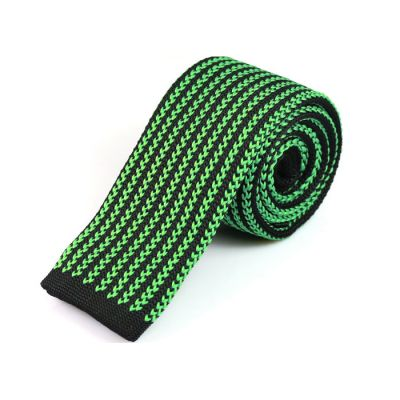 6cm Zombie Green and Black Eel Knit Striped Skinny Tie