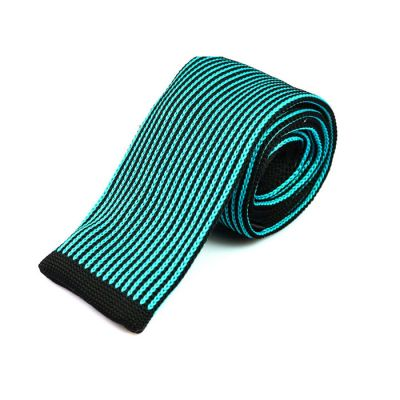 6cm Celeste and Black Eel Knit Striped Skinny Tie