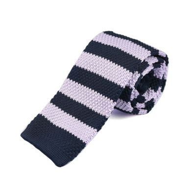 6cm Night and Gray Goose Knit Striped Skinny Tie