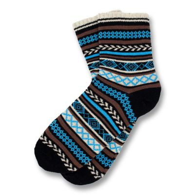 Black, Blonde, Blue and Sepia Cotton Argyle Socks