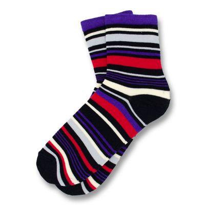 Black, Purple, Red and White Cotton Striped Socks