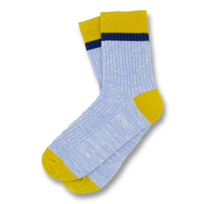 Pastel Blue, Rubber Ducky Yellow and Midnight Blue Cotton Solid Socks