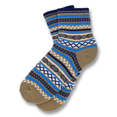 Wood, Midnight Blue, Dodger Blue and White Cotton Argyle Socks