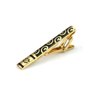 Gold Carved Black Tie Bar