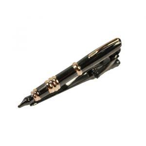 Gold Pen Gray Dolphin Tie Bar