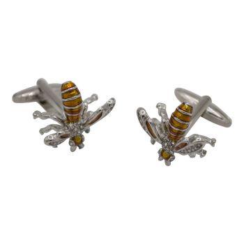 Orange Bejeweled Bee Silver Cufflinks