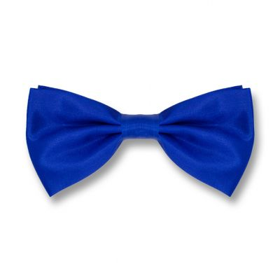 Denim Dark Blue Polyester Solid Skinny Bow Tie