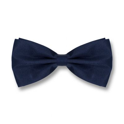 Midnight Blue Polyester Solid Skinny Bow Tie