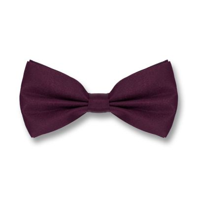 Plum Purple Polyester Solid Skinny Bow Tie