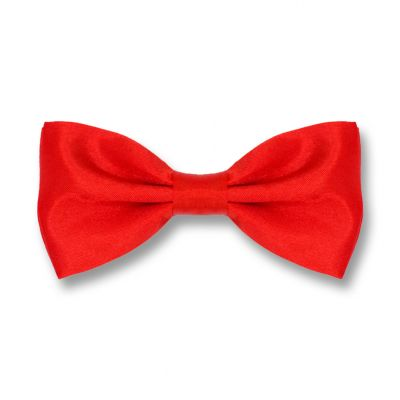Red Polyester Solid Skinny Bow Tie
