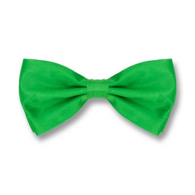 Spring Green Polyester Solid Skinny Bow Tie