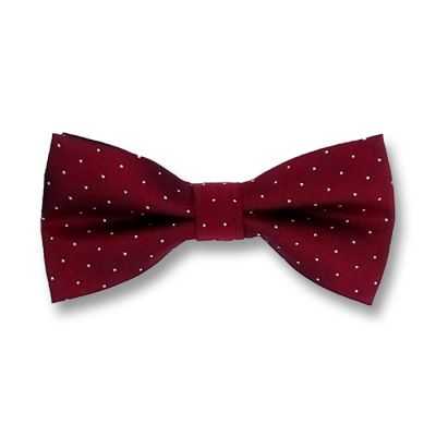 Red Wine and White Polyester Polka Dot Butterfly Bow Tie