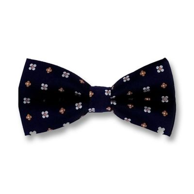 Midnight Blue, Brown and White Polyester Floral Butterfly Bow Tie
