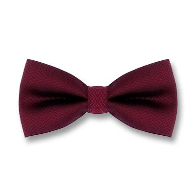 Red Wine Polyester Checkered Butterfly Bow Tie